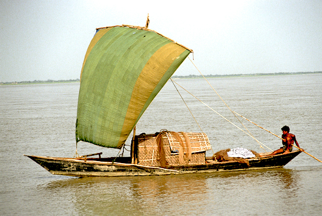 Old damaged slide of boat, Bangladesh, corrected for color